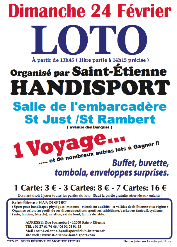 Loto du dimanche 24 f vrier 2013 saint etienne handisport for Loto dans 01